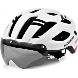 Casca protectie cu ochelari Mokfire pentru Trotineta sau Bicicleta, Alb cu Negru